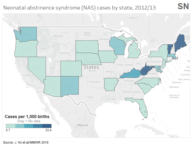 Neonatal Abstinence Syndrom cases by State 2012-13