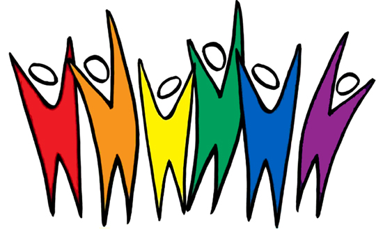 Six figures in rainbow colors jumping up