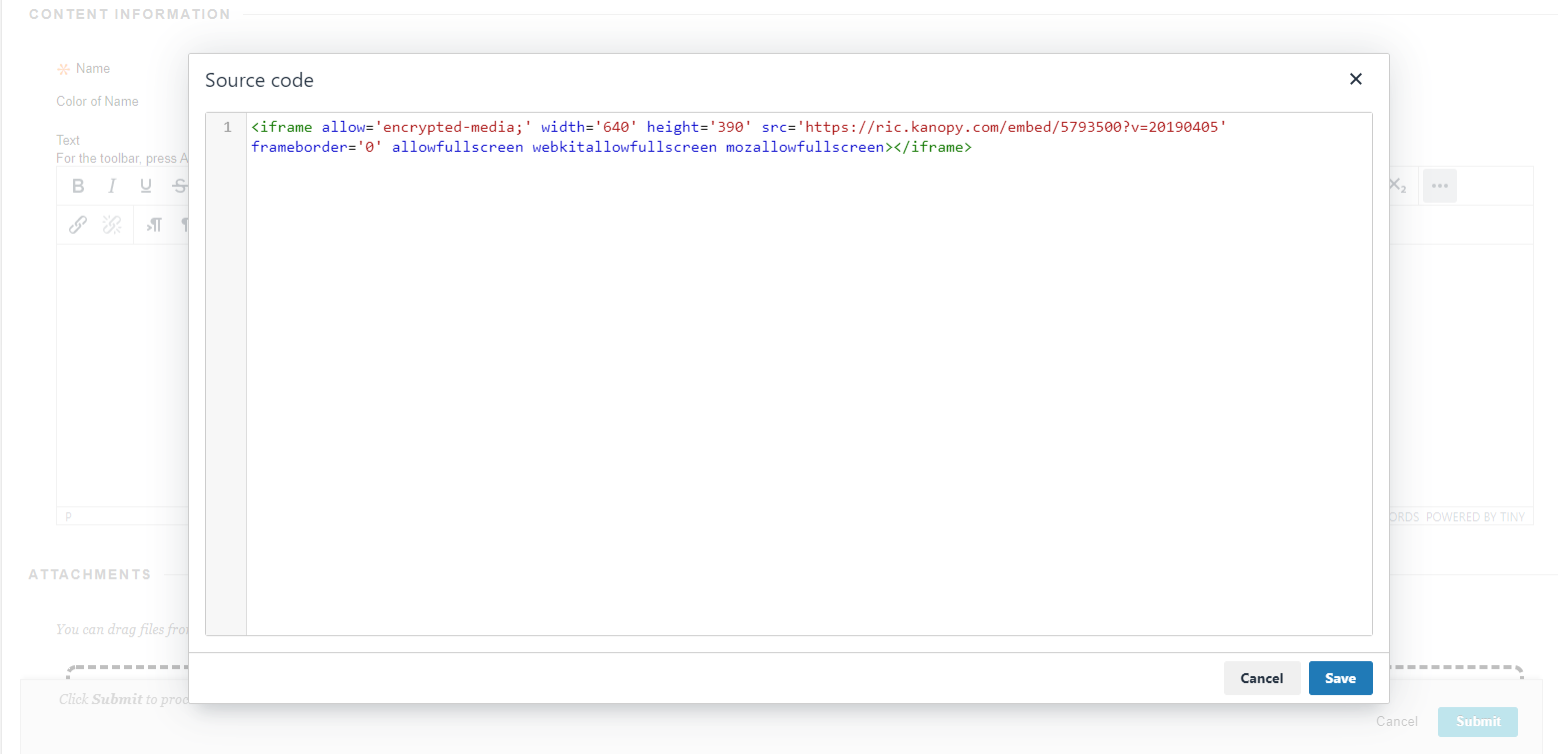 Paste the embed code in the source code pane.