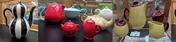 Photos of Teapots in Exhibit Cases
