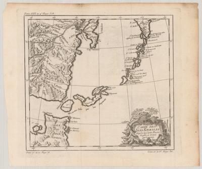 Map, Carte des Isles Kouriles 1768