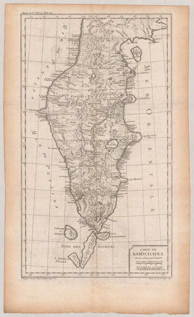 Map, 1780, Carte du Kamtchatka