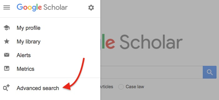 google scholar advanced search option