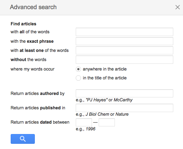 google scholar advanced searchbox