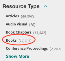 Search limit to books