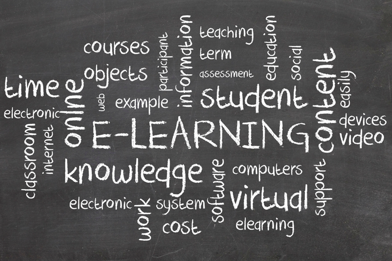 Words related to e-learning chalked on a blackboard