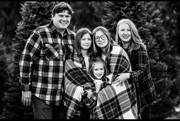 Christie Jenkins, husband, and three daughters.