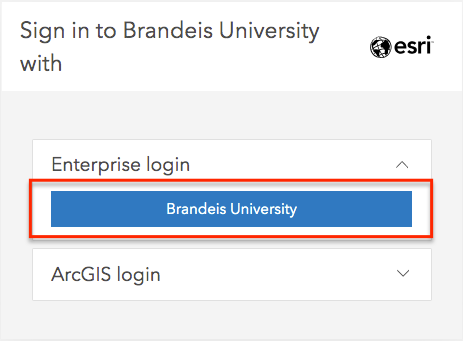 Sign into Brandeis ArcGIS Online with Enterprise login