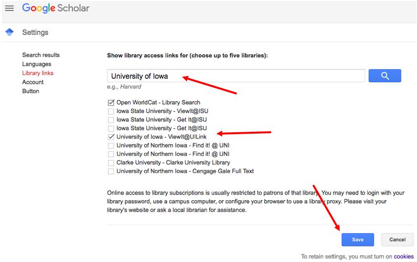 Google Scholar save settings