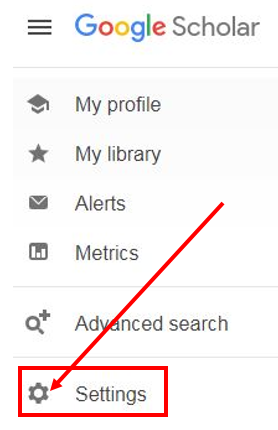 Google Scholar Settings Link