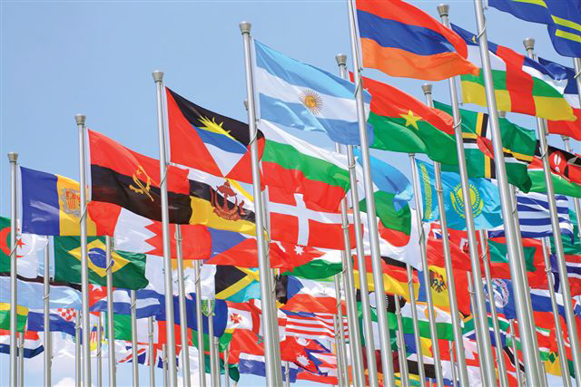 flags from many countries flying in the breeze