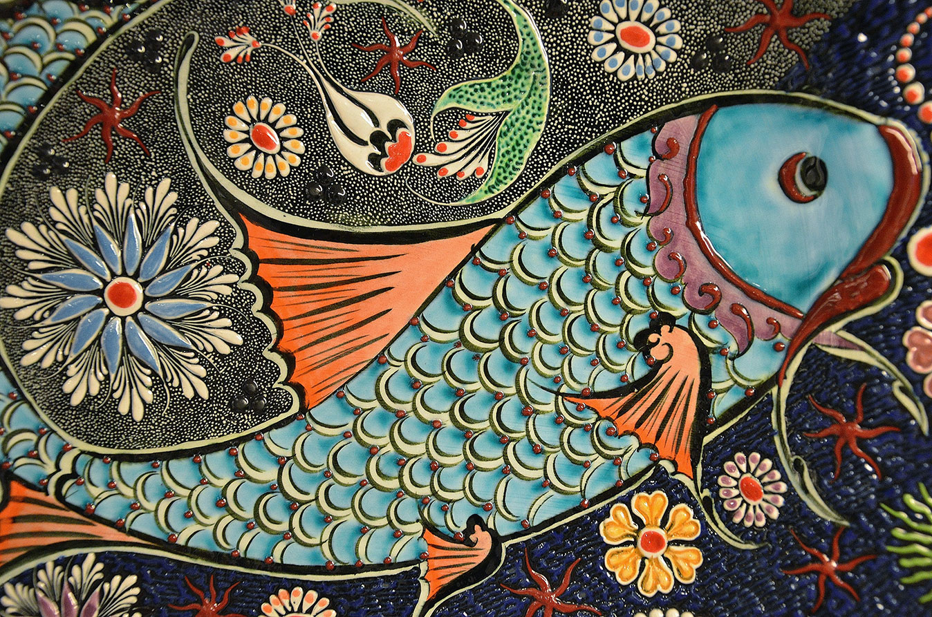 Mosaic artwork of a fish