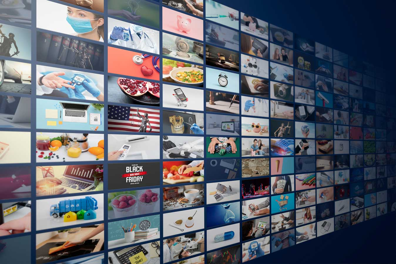 Television streaming, multimedia wall concept