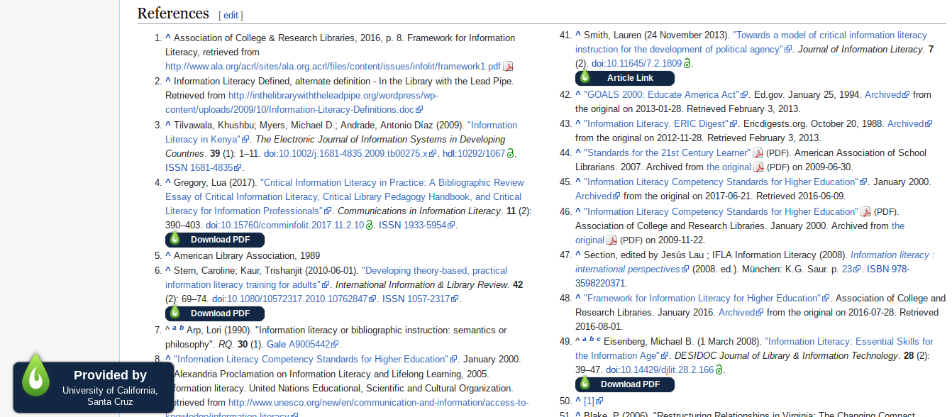 Screenshot of LibKey Nomad browser extenson in Wikipedia