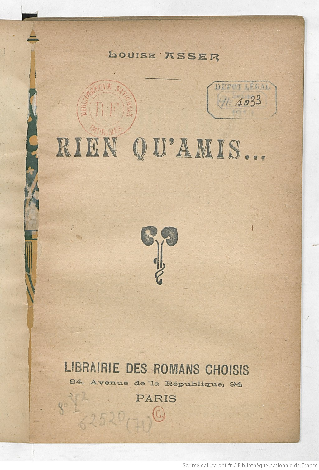Title page of Rien Qu'Amis... by Louise Gruizet-Asser