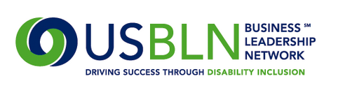Logo (blue and green) of USBLN Business Leadership Network-Driving Success through Disability Inclusion