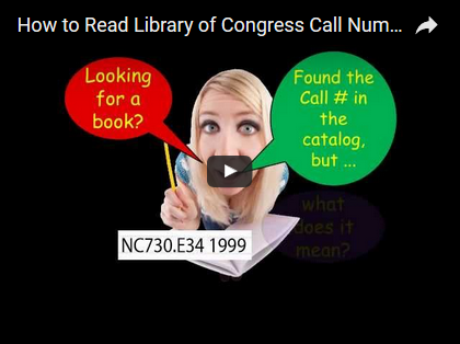 "The image shows a blonde woman with dialog bubbles in red (yellow font) ""Looking for a book?"" and a green bubble (yellow font) ""Find the call # in the catalog, but""."