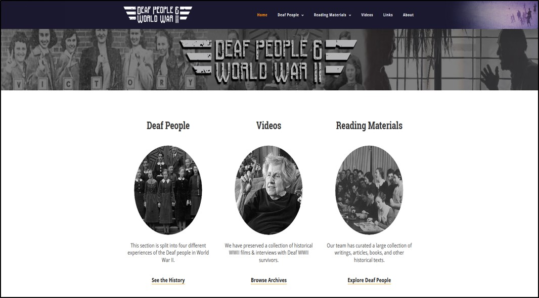 This is a screenshot of the Deaf People and WW II home page.