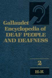 This is a medium blue book cover of the gold-lettered title, Gallaudet Encyclopedia of Deaf People and Deafness. In the upper right hand corner there is a blue logo of deafness (ear outline with a bar across the ear) against a black background.