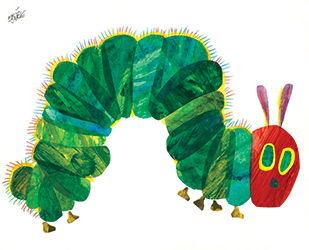 This is an illustration of The Very Hungry Caterpillar book by Eric Carle from the Carle Museum. It shows a blue-green curved caterpillar body with a few tiny feet, a red face, yellow outlined green eyes, a black nose and two tan antennas above the head.