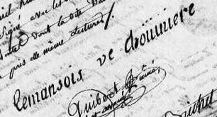 Signature of Madeleine Le Mansois in 1810, AD of Maine-et-Loire