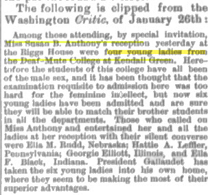 a newspaper clipping of Susan B. Anthony meeting Deaf women from the Deaf-Mute College (Gallaudet, circa  1888)