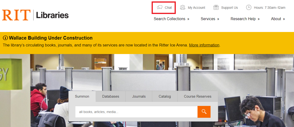 Screenshot of the RIT Libraries website highlighting the chat function.