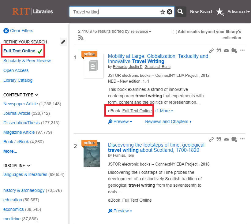 Screenshot of a search using Summon and selecting Full Text Online