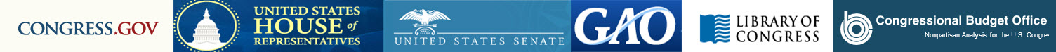 Banner showing logos of congressional agencies