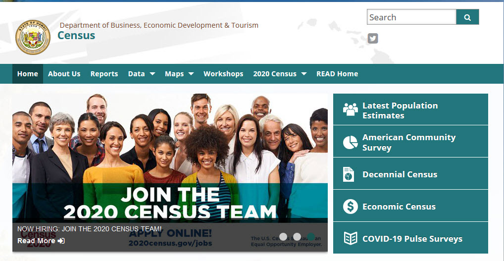Screenshot of DBEDT census home page