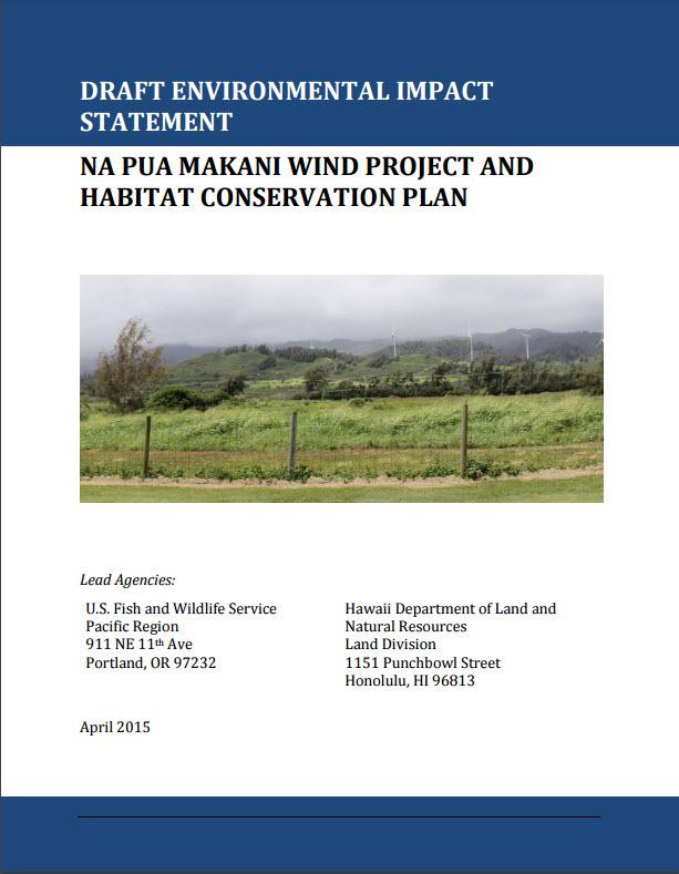 Na Pua Makani Wind Project Draft Environmental Impact Statement cover