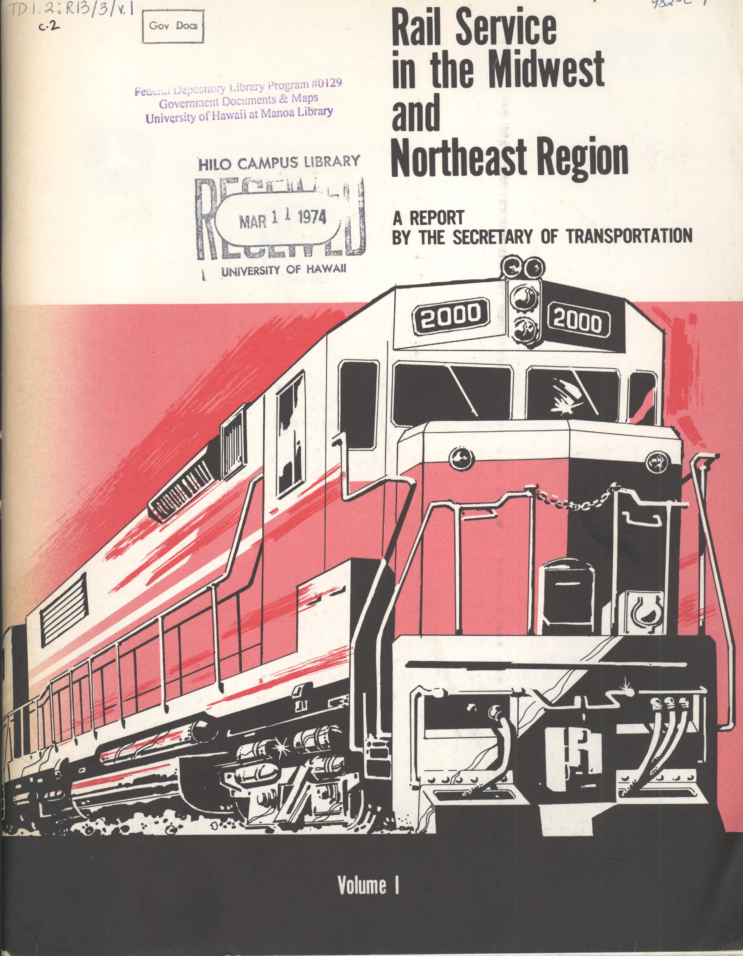 Rail service in the Midwest and Northeast Region (cover)