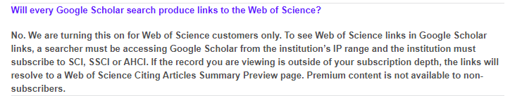 Web of Science and Google Scholar