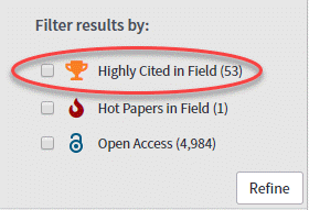 filter search by highly cited in field