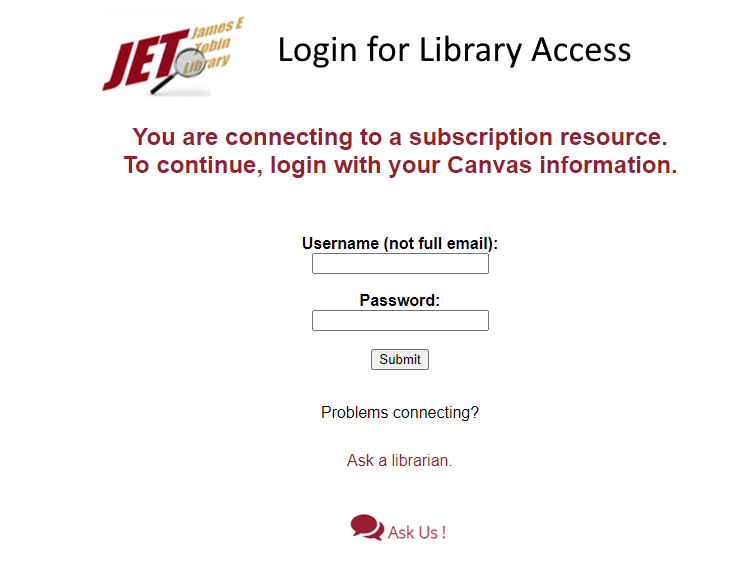 screenshot of login access screen
