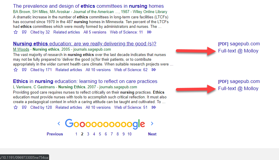 sample search in Google Scholar which shows the Fulltext at Molloy link option