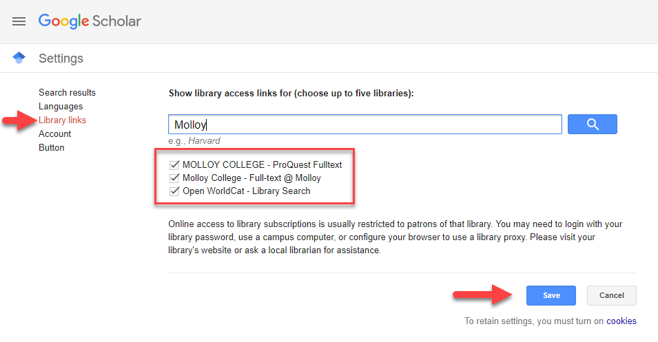 screenshot of google scholar settings showing the library links option and a search for Molloy college