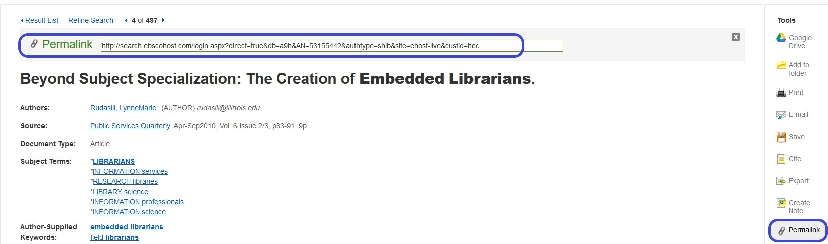 Identifying the permalink for an article from Ebsco