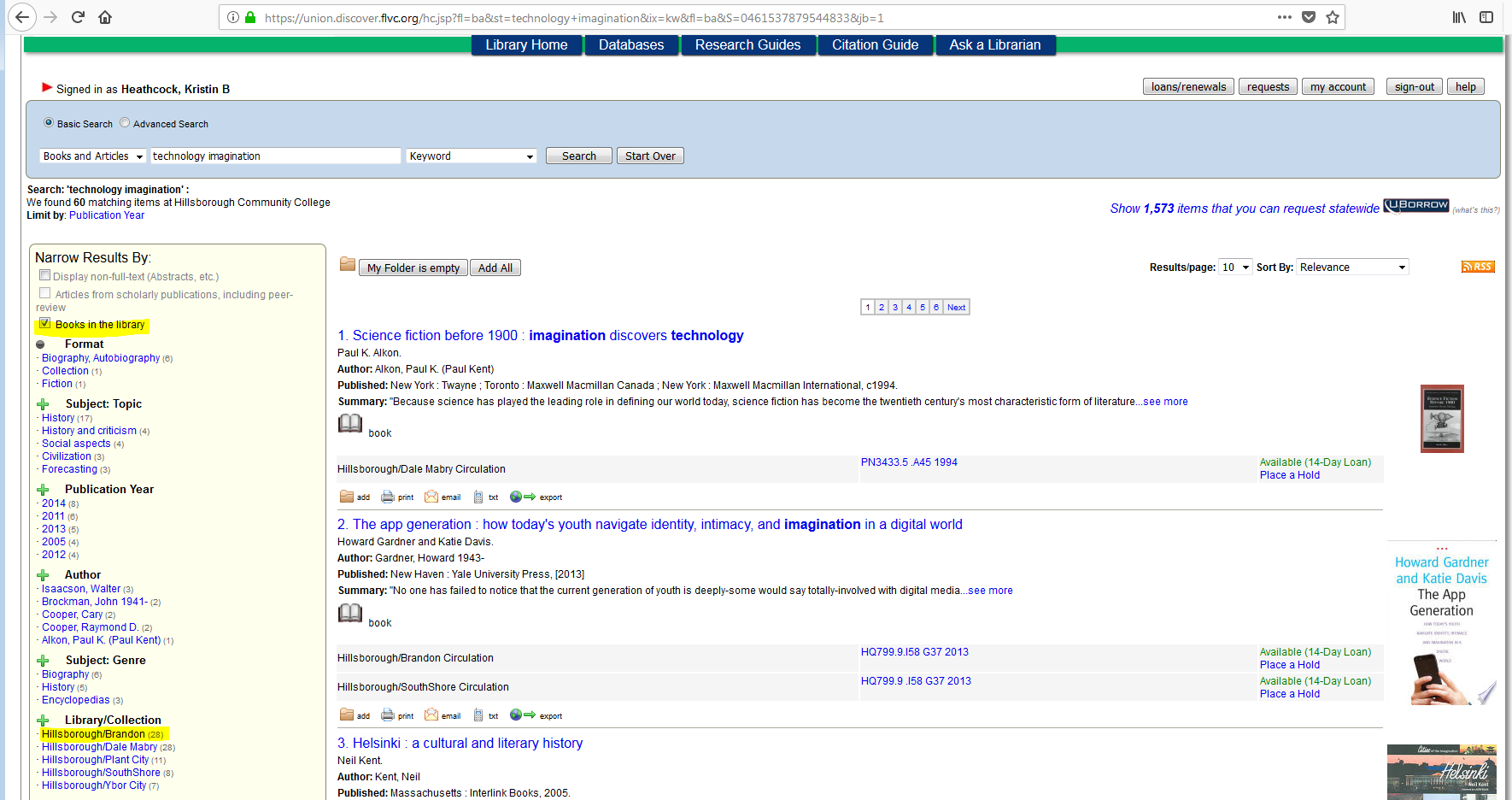 Library catalog search results