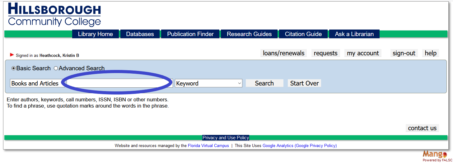 keyword search box on library homepage