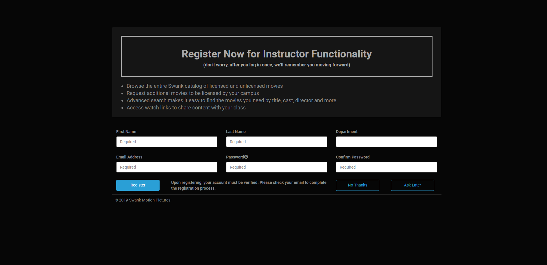 Swank Instructor Registration Screen