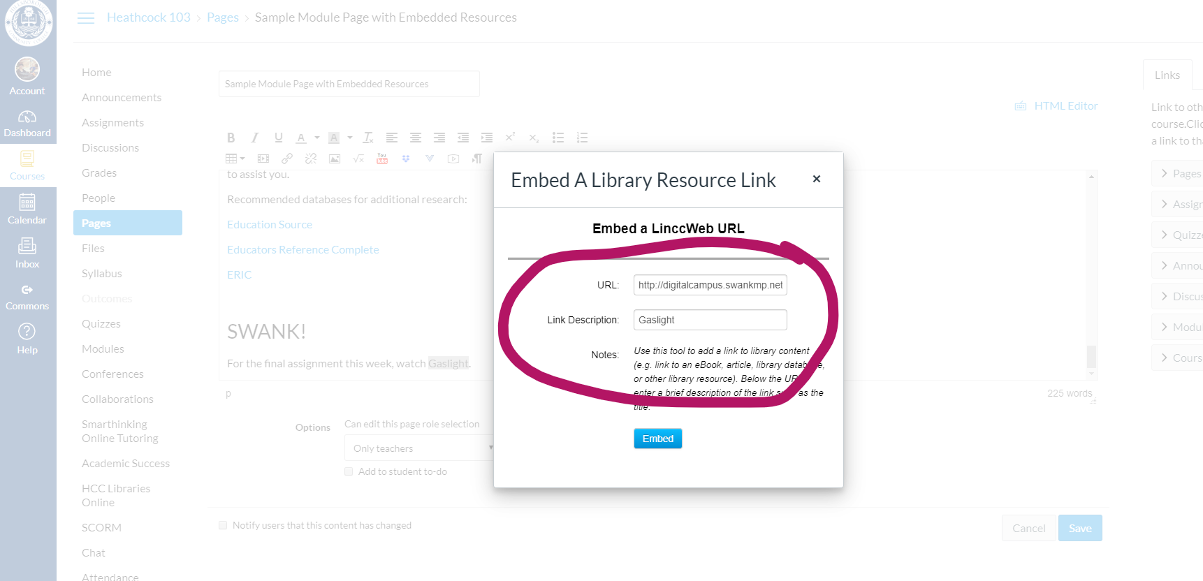 Embed a library resource link dialog box