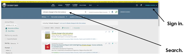 Screenshot to show where you sign in and where you search on CentralSearch