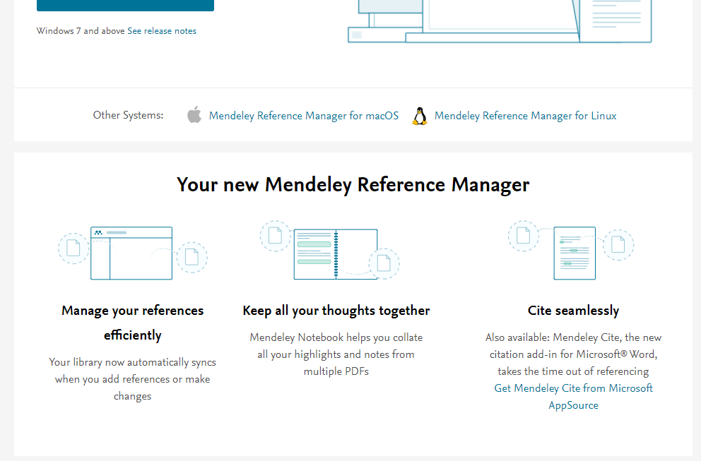 screenshot of the Get Mendeley Cite link for Windows operating systems