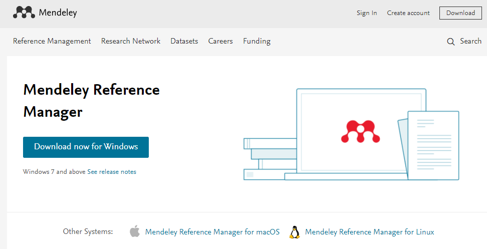 screenshot of the Mendeley Reference Manager download button with list of supported operating systems