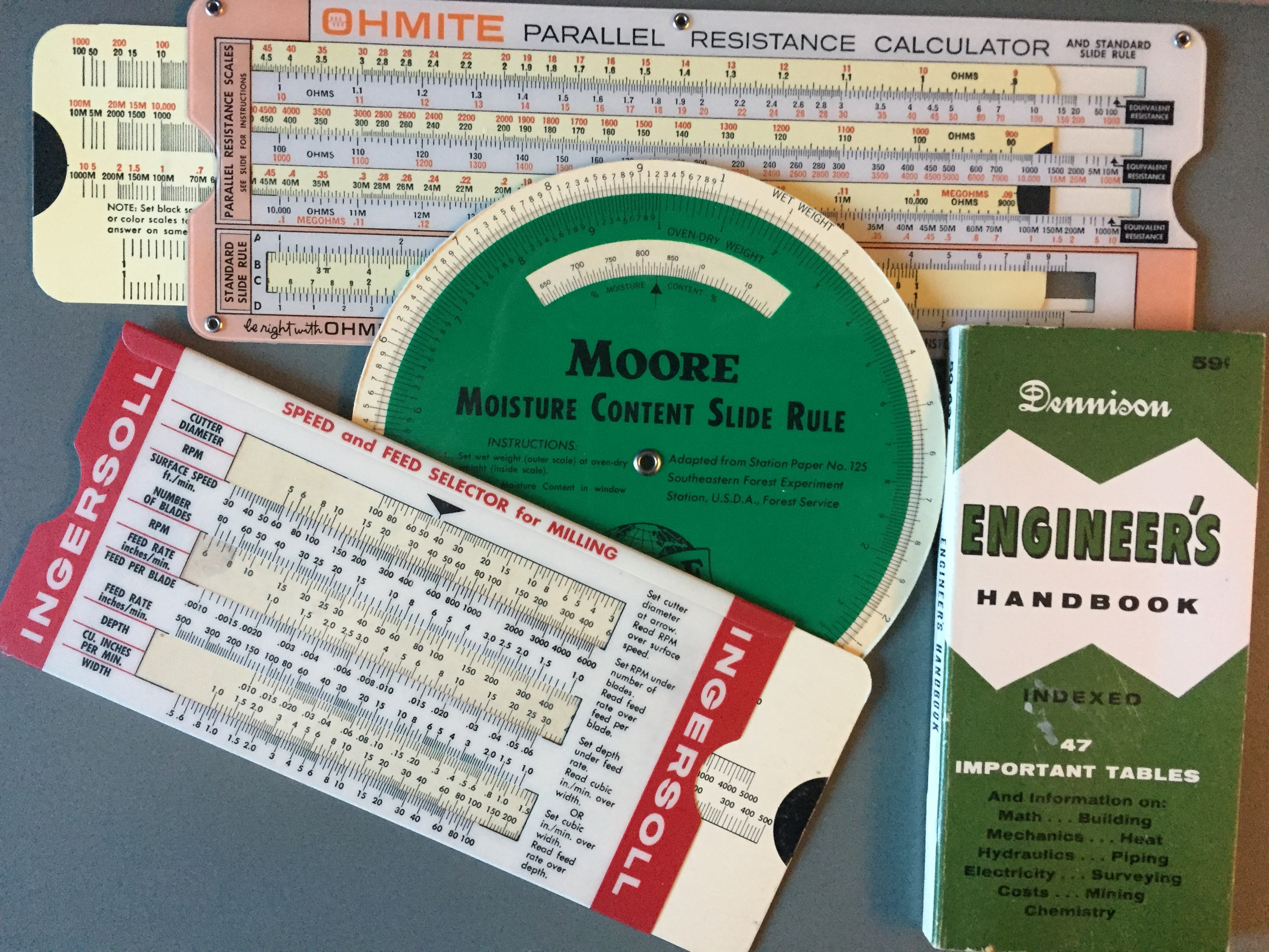 paper slide rules and pocket handbook for data