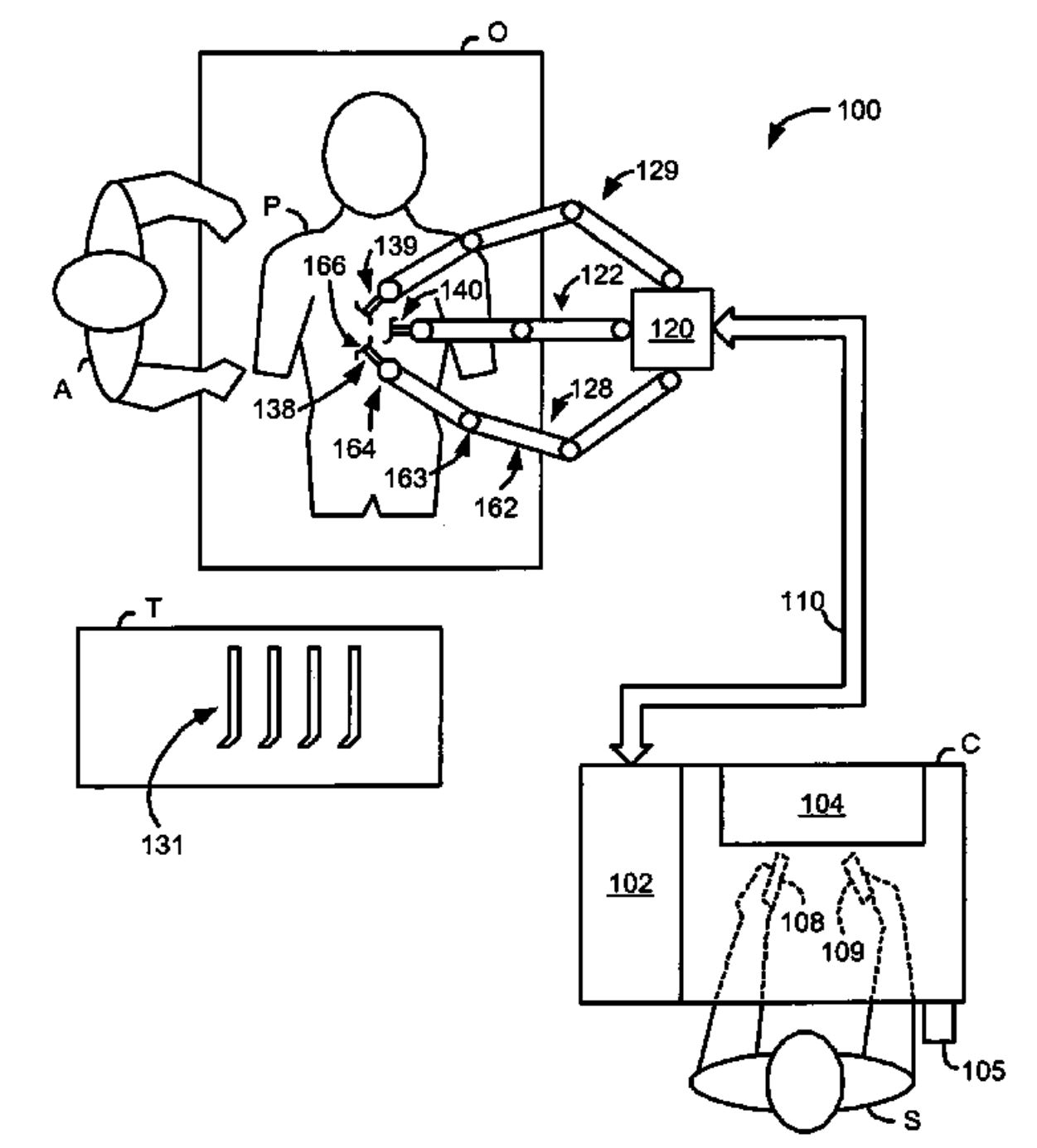 figure from patent for surgical robot showing control, patient, and proposed surgical field