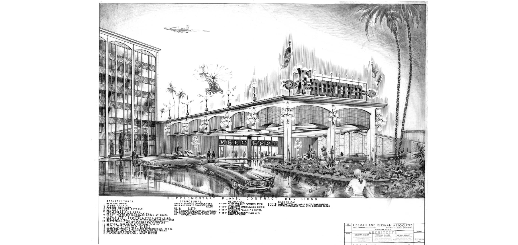 Supplementary plans and contract revisions, New Frontier Hotel and Casino (Las Vegas), Frontier entrance perspective, September 22, 1966