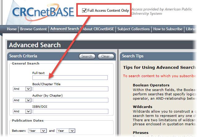 CRC Advanced Search