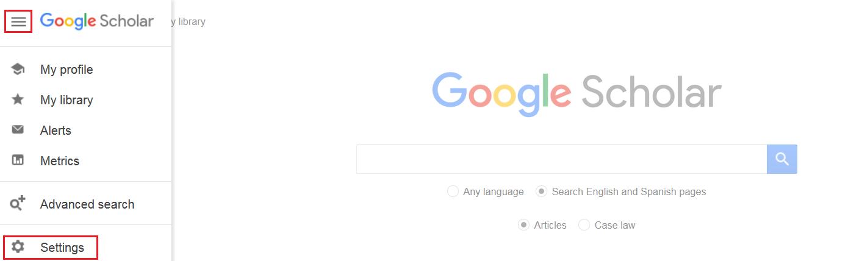 Google Scholar menu icon